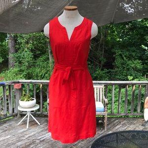 Banana Republic Linen Sz 2 Coral Red Dress